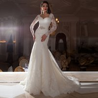 Wholesale Long Sleeves Lace Mermaid Wedding Dress With Open Back Romantic Crystal Wedding Gowns Custom Made