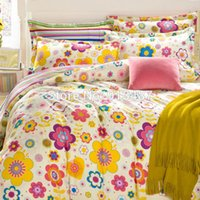 beige coverlet - colorful floral print rainbow beige cartoon cotton bedding sets linens Queen Double size quilt cover set sheets sets coverlet