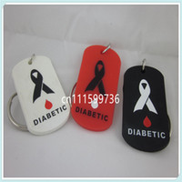 medical id - 50pcs MEDICAL ID DIABETIC silicone Dog Tag Key Chain Ring Colours