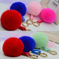 antique cell phones - CM Faux Rabbit Fur Keychain Ball PomPom Cell Phone Car Keychain Pendant Gold Metal Buckle Charm Key Ring