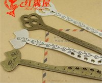 Wholesale A4182 Factory direct private custom creative stationery silver ruler charms lovely zinc alloy metal key cat bookmark exclusive design