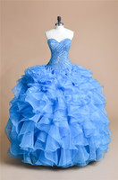 Wholesale Sweetheart Princess Prom Dresses - New Gorgeous Blue Princess 2016 Quinceanera Dresses Ball Gown Sweetheart Embroidery Beaded 2016 Custom Made Prom Gowns Tiers Organza Sale XG