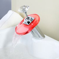 Wholesale Hotel LED waterfalls tap with light color round glass hot and cold water faucet
