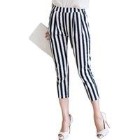 best casual pants - Best Selling Women Casual pencil Pants Large Size XL XL Classic Black White Striped Design Lady Fashion Pants Capris