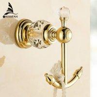 Wholesale luxury crystal brass gold robe hook bathroom hangings gold towel rack clothes hook HK k