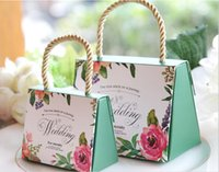 Wholesale Creative european style wedding handheld and joyful bag Wedding supplies paper packaging candy box of six colors