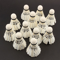 Wholesale 12 Portable White Goose Feather Training Badminton Balls Shuttlecocks Sport Products