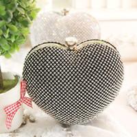 abs party bag - Lovely cute handbag peach heart evening bags diamond crystal clutch purse wedding banquet messenger party cutout hollow R9749