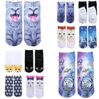 Wholesale Cat Animal D Printing Socks Autumn Winter Solid Hip Hop Cotton Skateboard Sock for Women Men Big Boys Girls D Printed Stocking zx