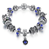 authentic antique jewelry - Antique Silver Blue Charm Bracelet With Rose Pendant Exquisite Glass Bead Love Chain Authentic Women Jewelry Gift PA1859