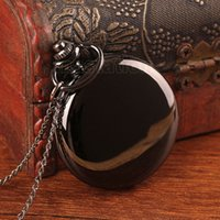 antique china clocks - Watches Clocks Pocket Fob Watches Black Round Smooth Steampunk Pocket Watch P200 watch manufacturer in china