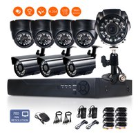 Wholesale 8CH H H DVR mm Lens TVL Indoor Outdoor High Resolution system IP66 CMOS CCTV Security Bullet Dome Camera System Motion Detectio