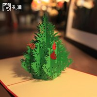 Wholesale Christmas tree origami paper cutting art d pop up card card cubic greetings and gifts for Christmas CARDS invited to the wedding