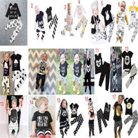 baby wolves - 17 styles INS Casual Baby Clothes letter owl Wolf rabbit fox Tops T shirt Pants set ins sets Outfits cm DHL shipping C912
