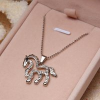 b jewelry free - Brand New Womens Horse Pendant Necklaces Crystal Alloy Silver Planted Jewelry Pc D0737 B B