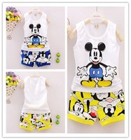 Wholesale Minnie Mouse Sets For Baby Boys Girls Casual Outfits Clothing Mickey Cartoon children Kids Print T Shirts Sport short Pants Trousers