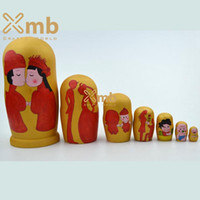Wholesale 2016 Nesting Doll Chinese Classical Wedding Matryoshka pieces Home Decor Handmade Toys Crafts