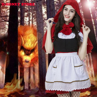 Wholesale Sexy Cosplay Fairy - 2016 Sexy Womens Fairy Tale Little Red Riding Hood Costume For Halloween Cosplay Uniforms Plus Size