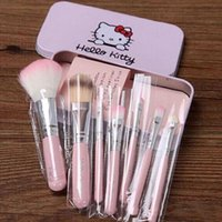 Wholesale 100sets Set Hello kitty Make Up Cosmetic Brush Kit Makeup Brushes Pink Iron Case Toiletry Beauty Appliances Makeup Brush