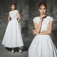 aline wedding dress - 2016 elegant Jewel Aankle length aline princess gothic country two piece fairy wedding dress lace Hi Lo wedding dresses bride gowns QW822