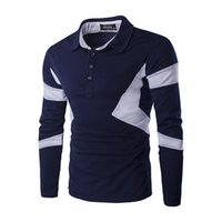 Wholesale Fashion Slim Ralph for Men Panelled Casual Mens Polo Shirts Long Sleeve Cotton Blend Size XS L