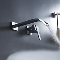 Wholesale BAKALA Waterfall Widespread Contemporary Bathroom Sink Sanitary Wall Mount Faucet Mixer Tap Chrome Finish LT