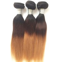 Wholesale Ombre Hair Straight Human Hair Weaves Three Tone B A Ombre Brazilian Peruvian Malaysian Indian Virgin Remy Human Hair Weave Bundles