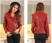 Wholesale 2016 women short Slim small leather jacket girls sexy coats leather jackets for women Black Red size Xl sheepskin leather bomber jacket