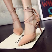 Wholesale New Women High Heel Lace Up Pointed Toe Sapatos De Salto Alto Cross Straps Pumps Shoes Quality Nubuck Leather High Heels