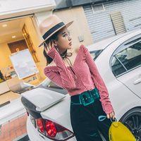 basic wear t shirt - women sexy basic shirts ways wearing v neck Striped slim long sleeved top velvet basic t shirts
