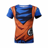 animation shorts - New men animation D tight short sleeve T shirt Classic Anime Dragon Ball Z Super Saiyan d t shirt tees tops