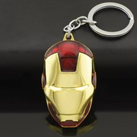 Wholesale Marvel Comics Super Hero Avengers Iron Man Mask Metal KeyRings Key Chains Purse Bag Buckle Key Holder Accessories Keychains K103