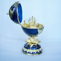 bejeweled jewelry - Globe Faberge Inspired Egg trinket box Russian craft metal jewerly ring box bejeweled bling jewelry birthday gifts collectibles