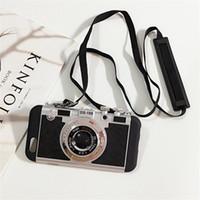 achat en gros de date photo-Date Cas de téléphone de l'appareil photo de style coréen Camera Phone Holder Stand Case Gel silicone pour iPhone 5 5s 6 6s 6p Iphone 6s plus Cover Téléphone