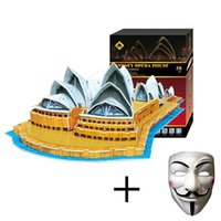 Wholesale 3D Three dimensional Jigsaw puzzle DIY Puzzle The gift Sydney Opera House Architecture Model free gift