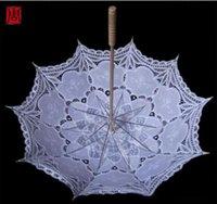 Wholesale Ivory White Bride Bridesmaid Lace Umbrella Handmade cotton lace vintage wooden handle surface radius high quality