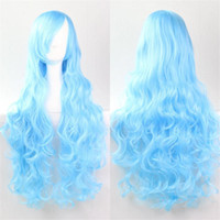 Wholesale 7 Colors Long Wavy Cosplay Wigs cm Orange Jasper yellow wine red Synthetic none lace hair Wigs Hair for Women Girls High Temperature Fiber