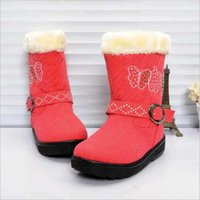 Wholesale 2016 winter new girl snow boots warm thickening children s cotton boots butterfly children s shoes non slip cotton boots
