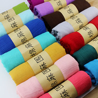 Wholesale Popular fashion beautiful plain style cotton and linen polyester solid scarf with many colors