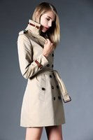 adjustable waist belt - new women fashion british middle long trench coat with belt high quality england designer women trench coat size S XXL khaki