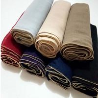 El oro de lujo rebordea las bufandas viscosas de la bufanda de la cadena de la bola de las mujeres de la bufanda de las bufandas maxi llanas de la bufanda de la manera árabe hijab envuelve FS6775