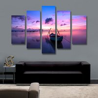 Wholesale 5 Panel Canvas Art Sunset Painting Seaside Boat Painting Canvas Prints Artwork Home Decor Picture for Living Room Unframed