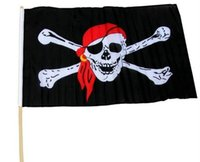 Wholesale Jolly Roger Flag Of Ghost Red kerchief black flag Cosplay Hallowmas Flags Supplies Via FedEx Ship