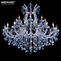 Wholesale European style crystal candle lamp light colored glass massive chandelier hotel hallway decorative lighting fixture vintage
