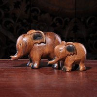 Wholesale Animal Elephant Carving Asia Thailand Action Figure Wood Handmade Original Art Toys Ornament Articles Office Home Morden Simple Desk Decor