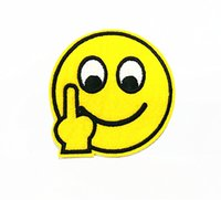 Wholesale 10 Pieces Cartoon Emoticons Finger Smile Face x cm Kids Patch Embroidered Applique Iron on Patch ALW