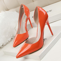 Wholesale Women single shoes pointed toe PU leather thin high heels dress shoes hollow out party women pumps colors