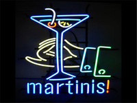 martini glasses - 2016 LED Martinis Real Glass Neon Light Signs Bar Pub Restaurant Billiards Shops Display Signboards quot x14 quot