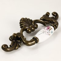antique hanging cabinet - Tulip antique copper butterfly ceramic handle hanging rings drawer wardrobe cabinet door handle EK09AB