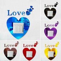 acrylic tile adhesive - Self adhesive Acrylic Love shape D switch sticker Eco Friendly Art Vinyl Decal wall stickers home decor